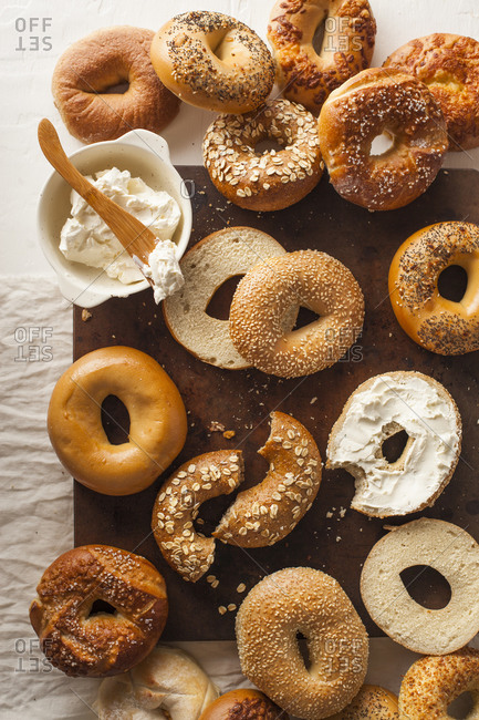 Variety of bagels and cream cheese