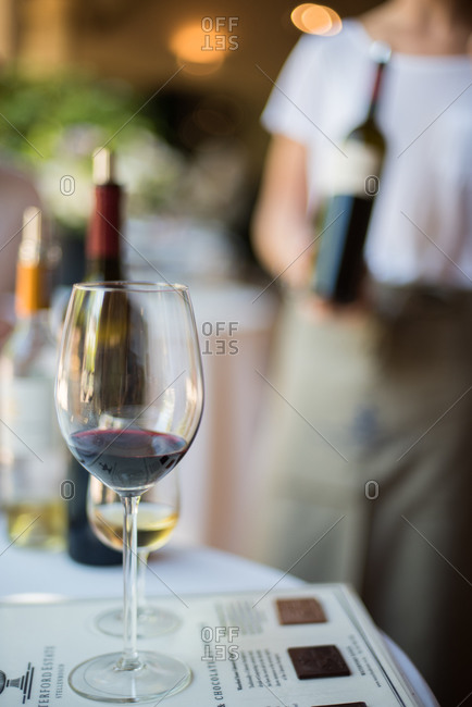 Red wine for tasting at winery