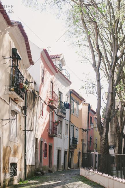 Row of quaint stucco homes in Lisbon, Portugal