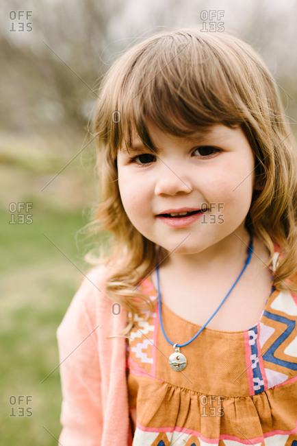 Portrait of girl in cardigan