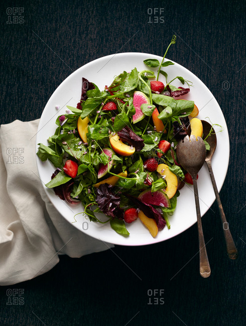 Summer salad with watermelon radish