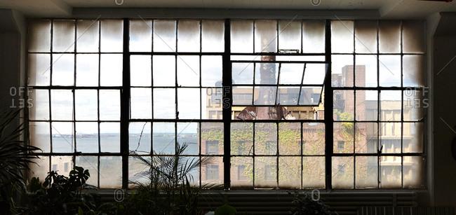 Window in an industrial photo studio