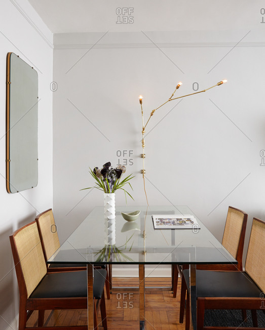 Vintage-modern dining room in a studio apartment