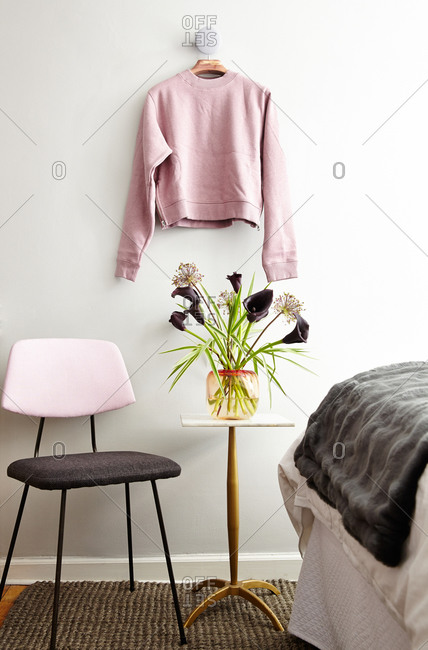 Sweater on a wall in a studio apartment