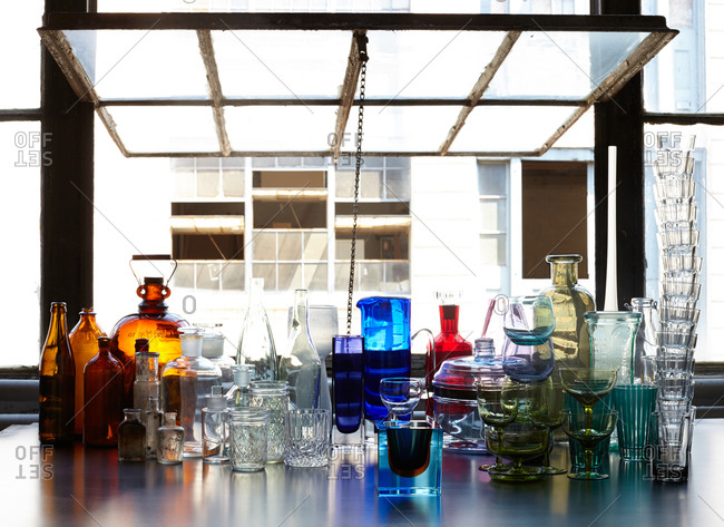 Variety of bottles and glassware