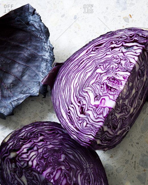 Overhead view of wedges of red cabbage