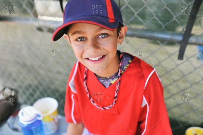 Portrait of a boy in a baseball uniform