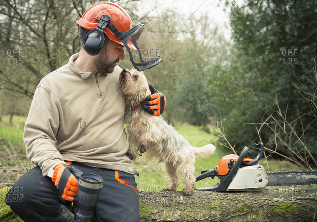 A forester sitting on a log in woodland wearing a helmet and ear defenders, hugging a small dog