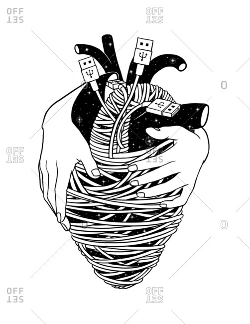 Black and white illustration of a human heart wrapped in USB cords