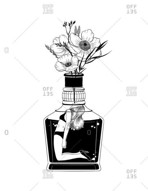 Black and white illustration of a woman marinating in a bottle filled with liquid