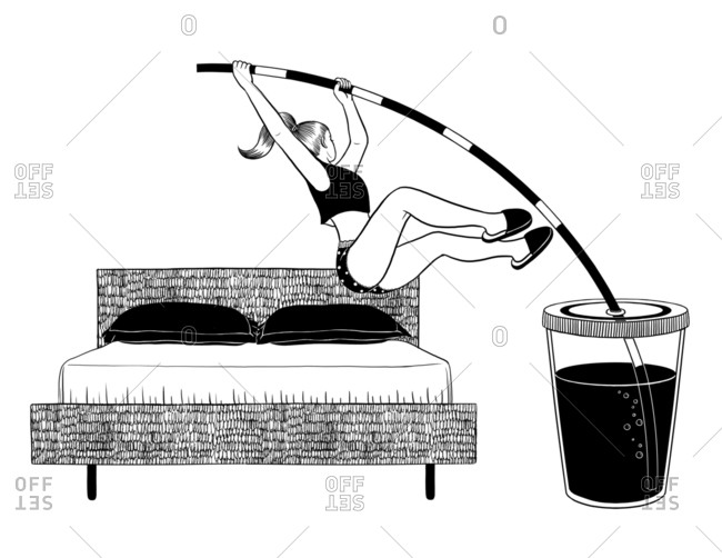 Black and white illustration of a woman pole vaulting out of bed using a drinking straw