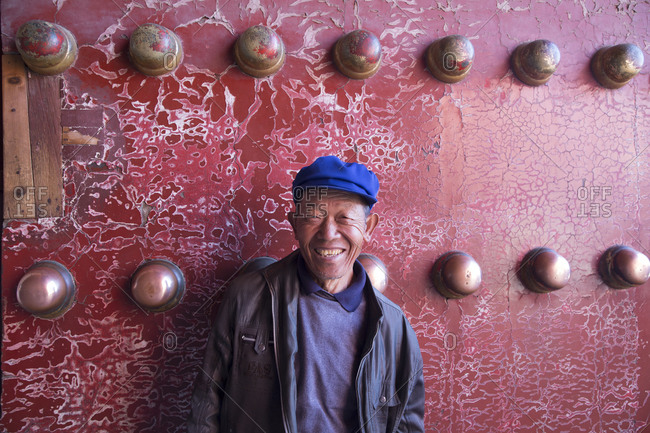 Beijing, China - March 22, 2016: Country man visiting the Forbidden City