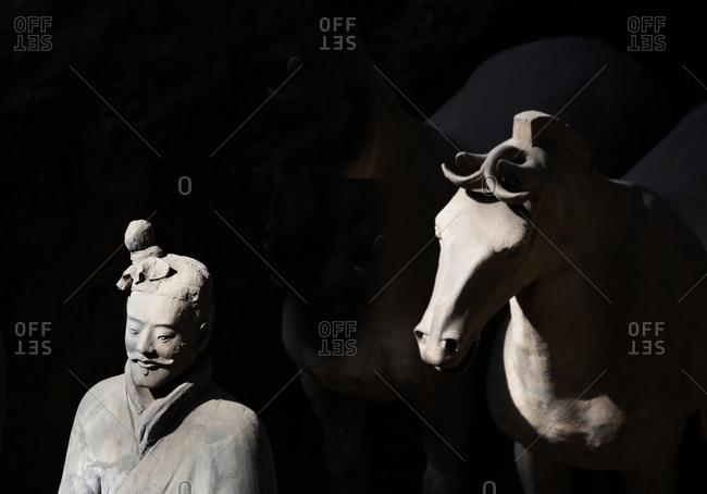 Xian, China - March 26, 2016: Terra Cotta Warriors and Horses