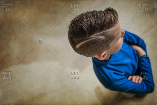 Shaved Design In Boy S Hair Stock Photo Offset