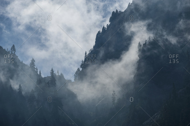 View of Mount Seymour in foggy weather, British Columbia, Canada