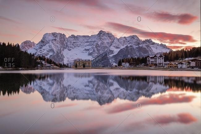 Mountain setting reflected in lake
