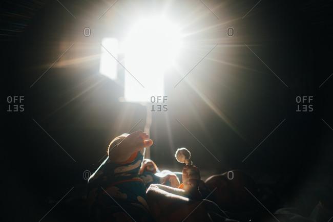 Child in bright sunburst