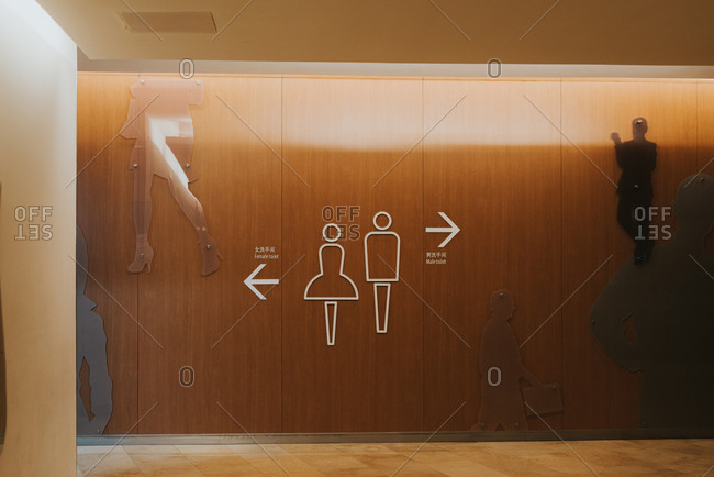 Signs to male and female bathrooms
