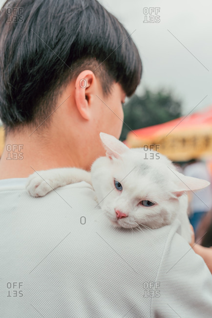 Pet cat on man's shoulder