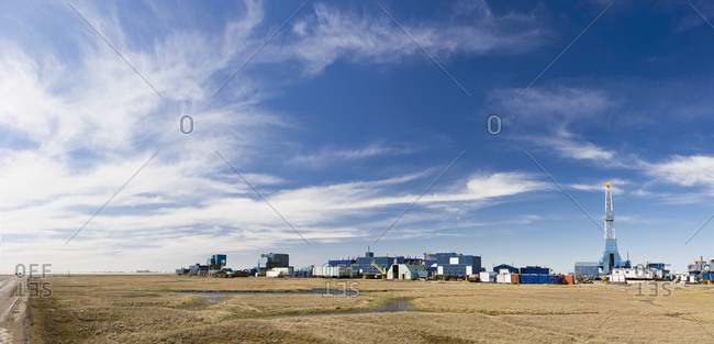 Oil rig and support buildings, Prudhoe Bay, Arctic Alaska