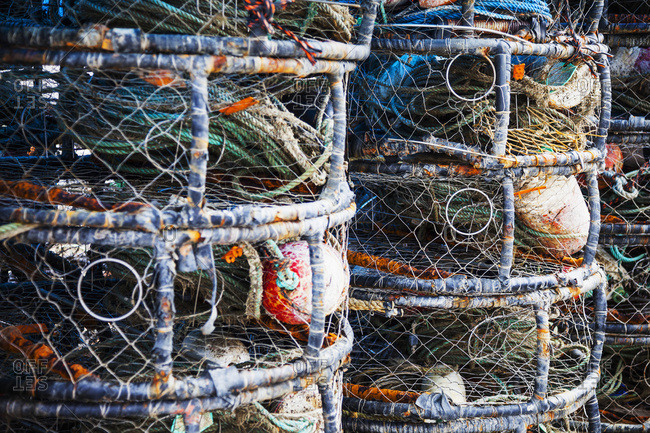 Stacked fishing gear in Bodega Bay; California, United States of America