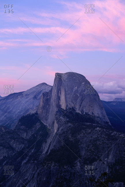 Sunset on Half Dome as seen from Glacier Point, Yosemite National Park; California, United States of America