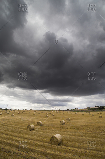 Dark storm clouds over a field with hay bales; South Shields, England