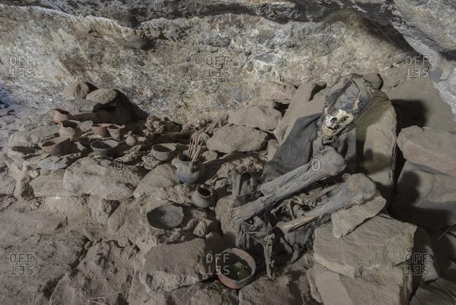 A mummy lays in silence within a cave near the Salar de Uyuni; Bolivia