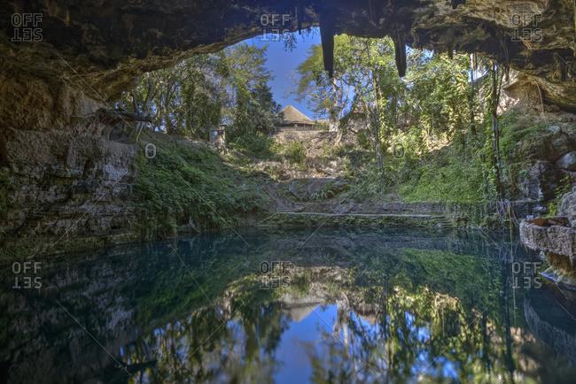 Cenote Zaci, a freshwater underground sinkhole; Valladolid, Yucatan, Mexico