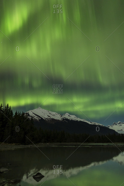 Aurora Borealis, Northern Lights, Mendenhall River, Tongass National Forest; Alaska, United States of America
