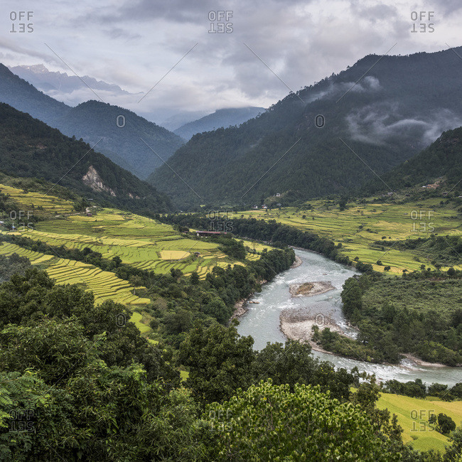 A river flowing through a valley with lush farmland surrounded by mountains; Punakha, Bhutan