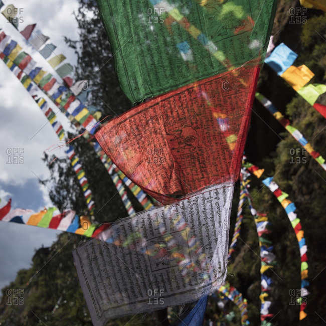 Colourful prayer flags; Paro, Bhutan