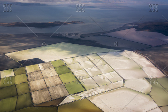 Great Salt Lake viewed from a commercial flight; Salt Lake City, Utah, United States of America