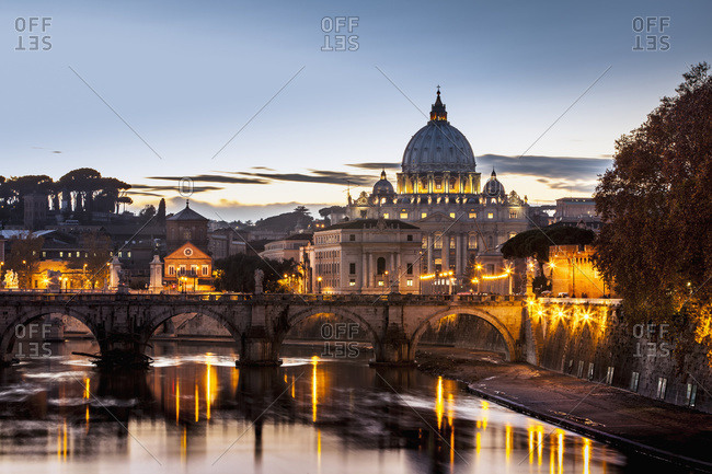 Saint Peter's Basilica, the world's largest church, at sunset; Vatican City, Italy