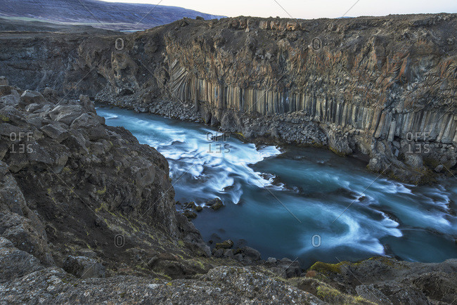 The basalt column and waterfall known as Aldeyjarfoss in Northern Iceland; Iceland