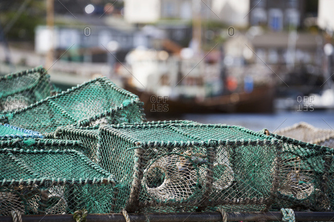 Fishing traps in the harbor; Whitby, Yorkshire, England
