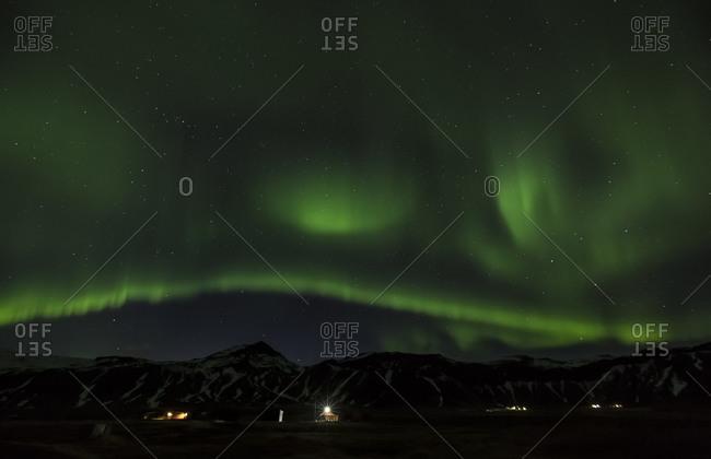 Green polar light at night