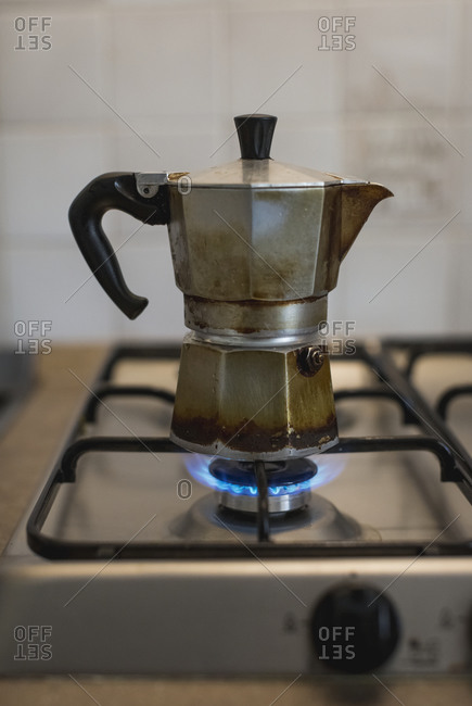 Espresso can on gas stove