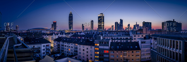 Skyline of Frankfurt's  financial district in the evening
