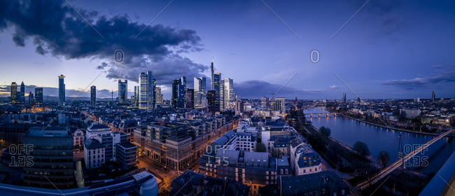 Frankfurt skyline of financial district in the evening
