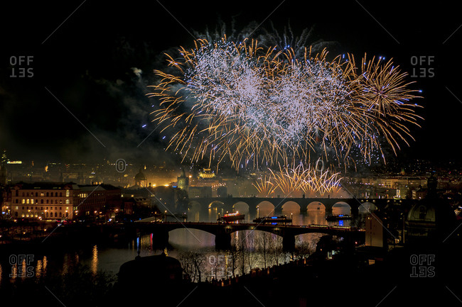 Fire works over river Vltava and Charles Bridge
