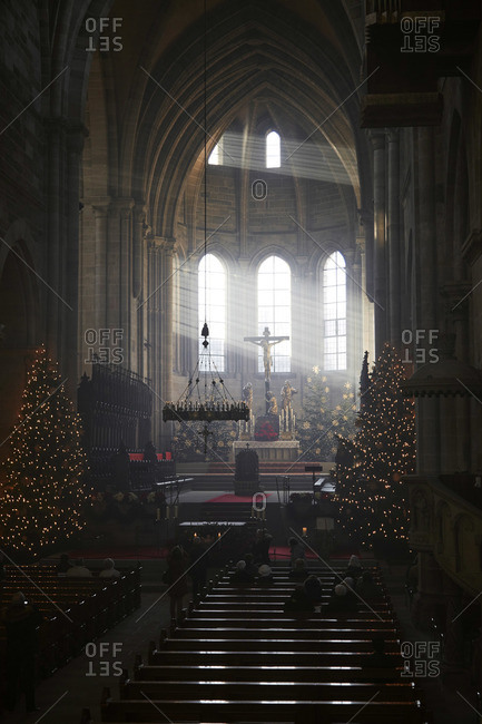 Bamberg, Germany - December 26, 2015: Altar of Bamberg Cathedral decorated for Christmas
