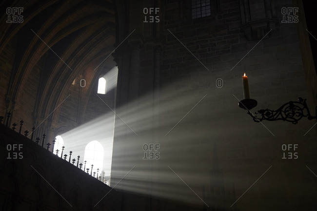 Sunlight and candlelight in Bamberg Cathedral, Germany
