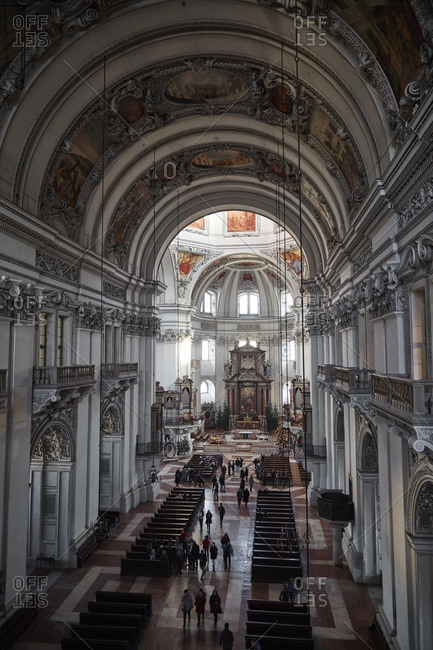Salzburg, Austria - December 30, 2015: Elevated view of the nave and altar in the Salzburg Cathedral