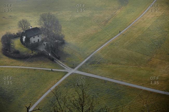 Aerial view of farmhouse at a crossroads in Salzburg