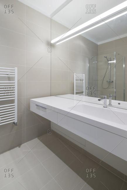 A modern bathroom sink area
