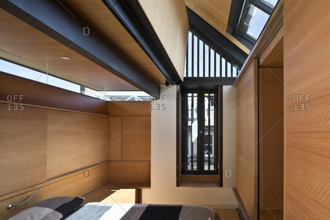Edinburgh, Scotland, UK - May 2, 2015: Modern bedroom with skylights