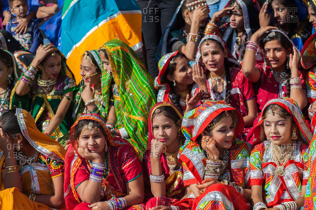 November 19, 2015: Group of young Indian women in colorful saris, India