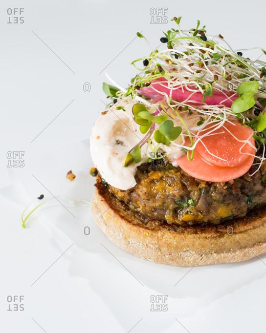Close-up of a veggie burger
