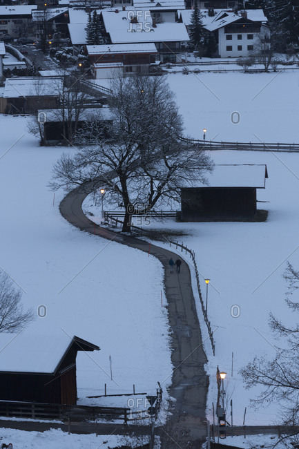 Path in wintery village